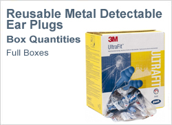 Metal Detectable Reusable Ear Plugs in Boxes