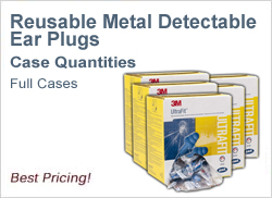 Reusable Metal Detectable Ear Plugs in Cases, Best Prices!