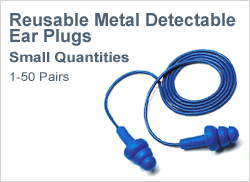 Reusable Metal Detectable Ear Plugs in Small Quantities