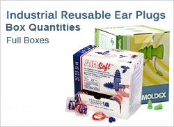 Industrial Reusable Ear Plugs in Large Quantities (Boxes and Cases, Best Prices!)