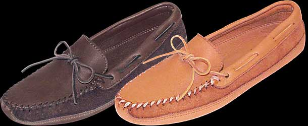 Moosehide Moccasin with Double Bottom Soft Sole by Minnetonka Moccasin
