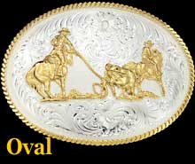 Team Ropers Buckle - Oval