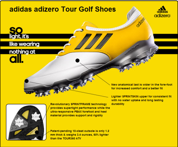 Adidas adiZero Tour Golf Shoe  Specs