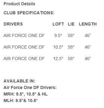 PowerBilt Air Force One DF MOI Driver Drivers Specs