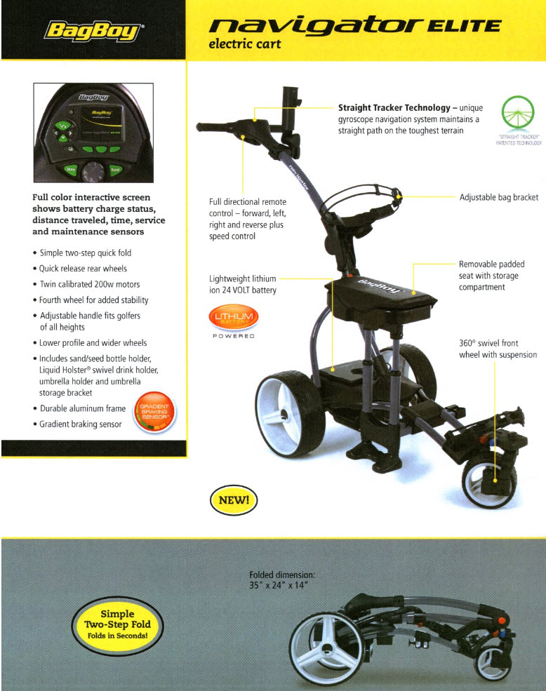 Bagboy Navigator Elite Electric Cart  - 2012 Specs