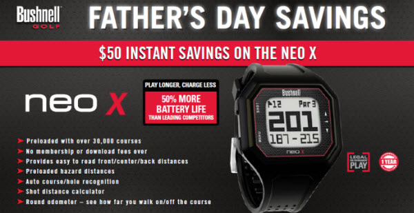 Bushnell Golf NEO X/NEO+ GPS Watch $50 Instant Savings Promotion