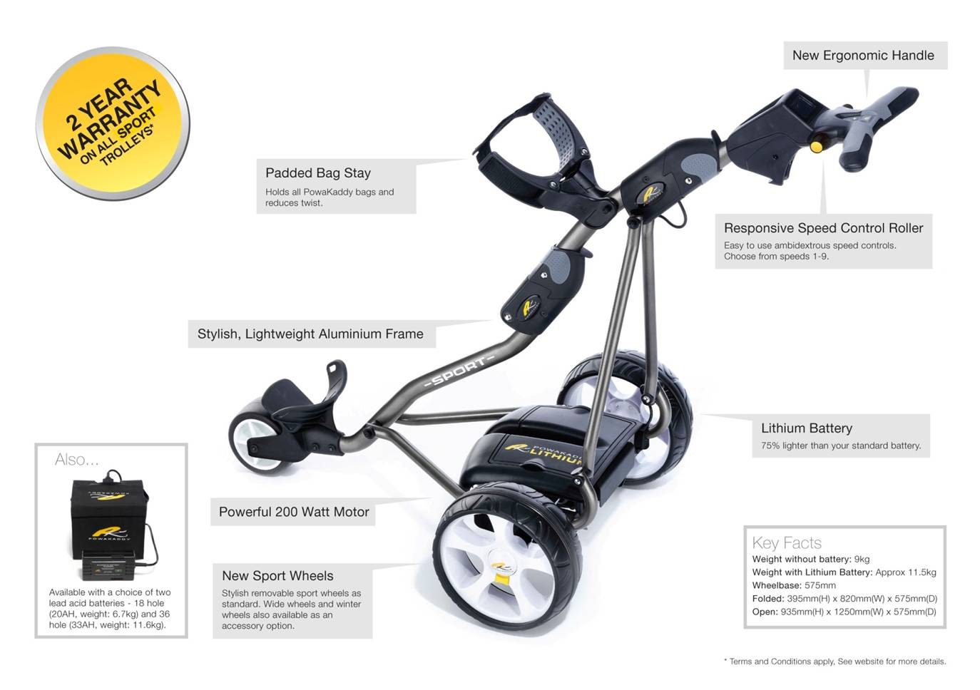 PowaKaddy Sport Electric Push Cart  Specs