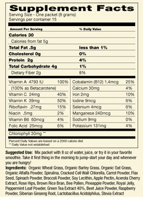 Green Super Food Single Serving Packets, Box of 15
