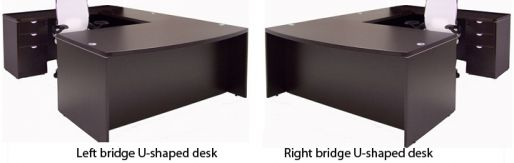 that depends on the layout of your office and your own preference sometimes one or the other is the only configuration that will fit in bridge reception counter office line