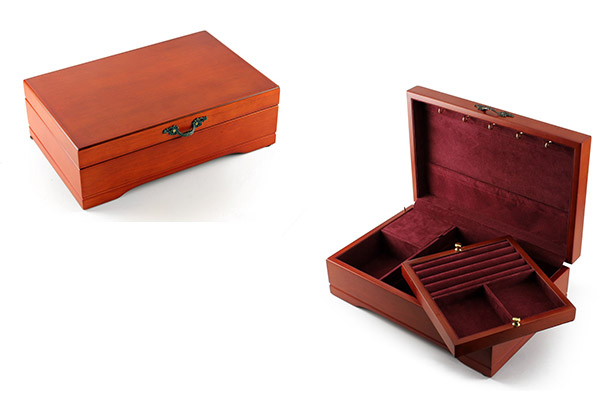 Spacious Brown Music Jewelry Box with Lift Up Tray