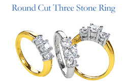 round cut three stone ring
