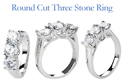 round cut 3 stone diamond ring