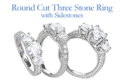 round cut 3 stone ring