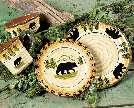 Black Bear Forest Dinnerware Set