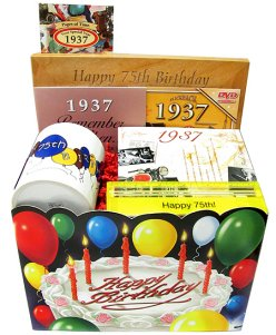 75th birthday gift basket