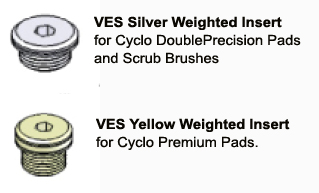 The Cyclo VES Weighted Inserts are precision-matched to specific pads.