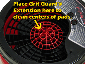 The grid extension provides extra agitation where the pad needs it.