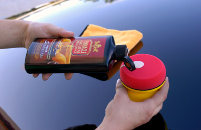 Pinnacle Liquid Souveran Car Wax can be applied by hand using a Polishin Pal
