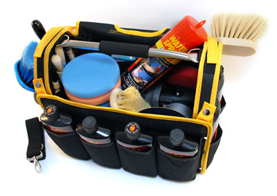 The Pinnacle Detailer's Bag is large enough to hold your Porter Cable 7424XP dual action polisher, buffing pads, brushes, towels, and car polishes.