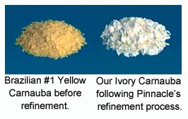 Yellow carnauba and Souveran's ivory carnauba wax.