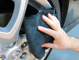 Use the Wheel Detailing Towel to remove wheel waxes and protectants.