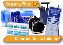 Emergency Water Rations and Storage Containers