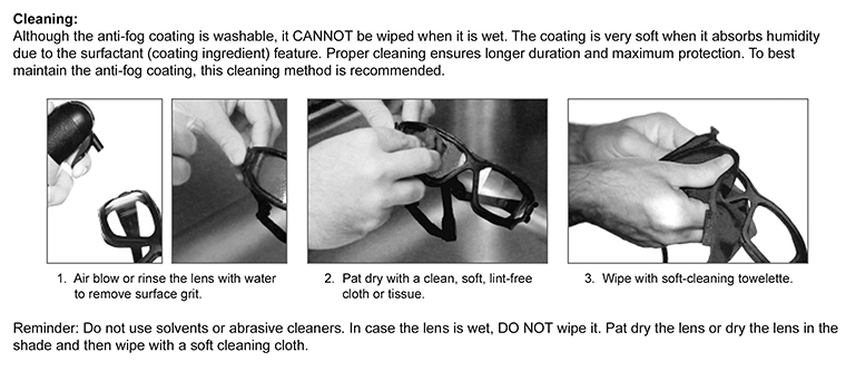 Pyramex I-Force Safety Glasses/Goggles Cleaning Chart