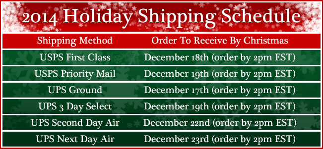 2014 Holiday Shipping Schedule