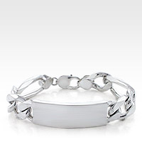 Sterling Silver Figaro Link ID Bracelet for Men