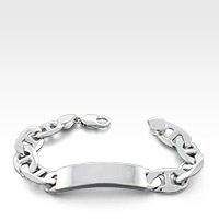 Sterling Silver Mariner Link ID Bracelet for Men