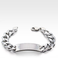 Curb Link Sterling Silver ID Bracelet for Men
