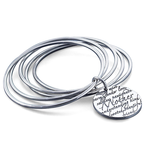 Kay Wicks - Sterling Silver Mother Disc Charm Bangle Bracelet (engravable) Picture