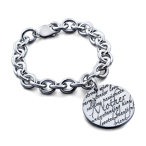 Kay Wicks - Sterling Silver Mother Disc Charm Link Bracelet (engravable) Picture