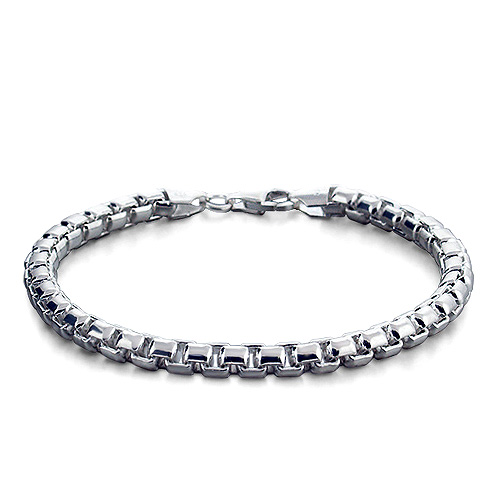 Mens 5 mm Sterling Silver Rounded Box Link Bracelet
