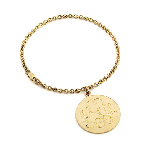 Solid 14k Gold Monogram Disc Charm Bracelet (engravable) Picture