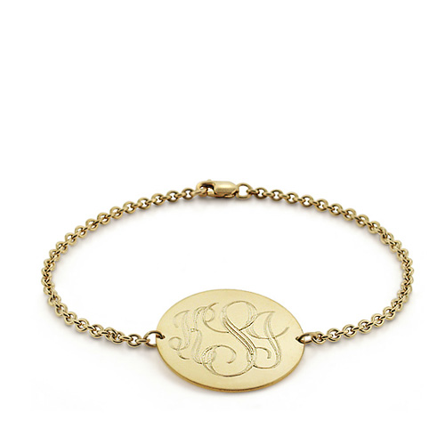 Solid 14k Gold Monogram Round Tag Bracelet (engravable) Picture