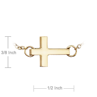 Gold Sideways Cross Charm Size