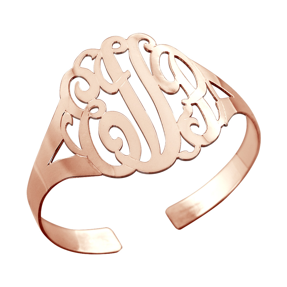 Rose Gold Monogram Cuff Bracelet Zoom View