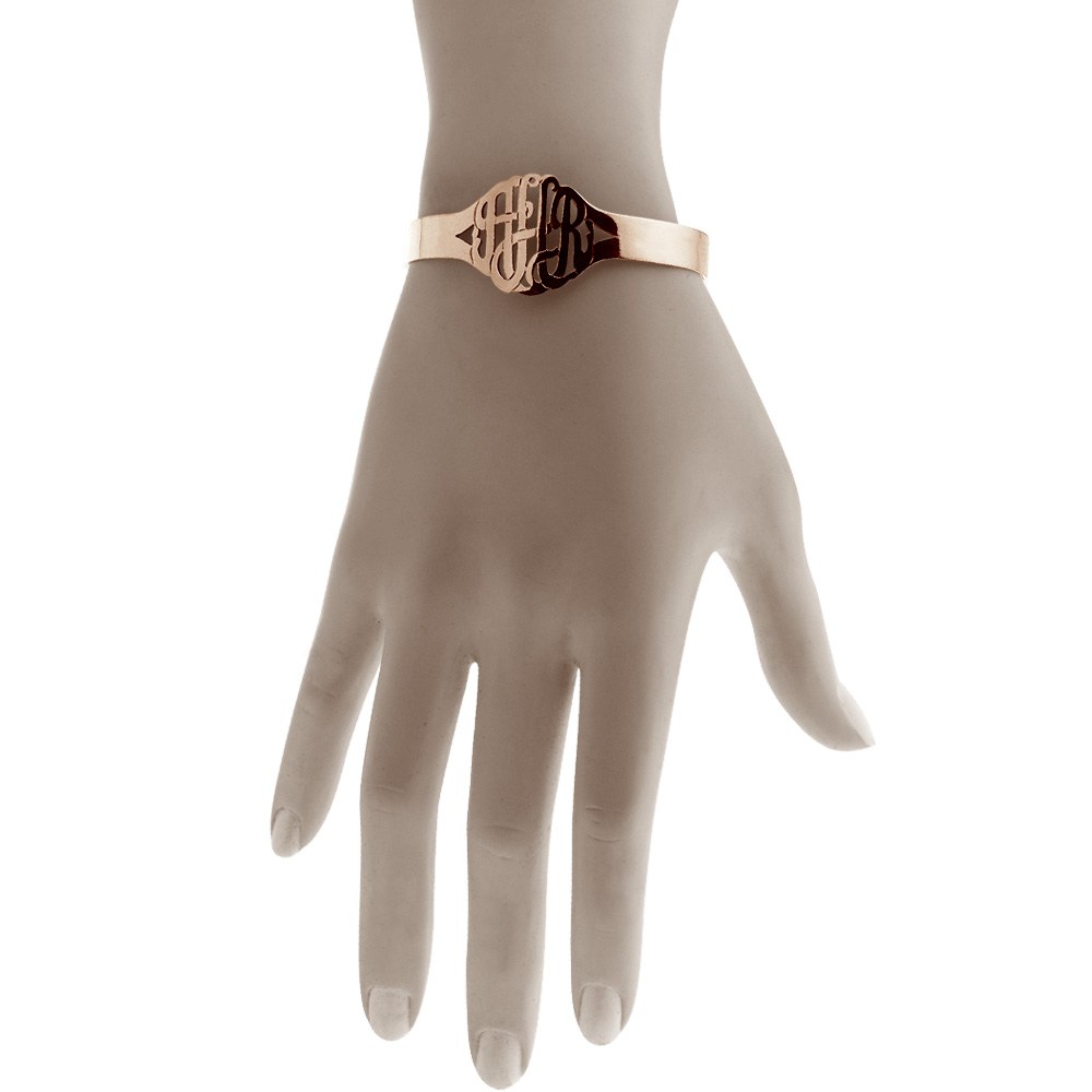 Rose Gold Monogram Cuff Bracelet Fit Detail
