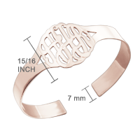 Rose Gold Monogram Cuff Bracelet Size Detail