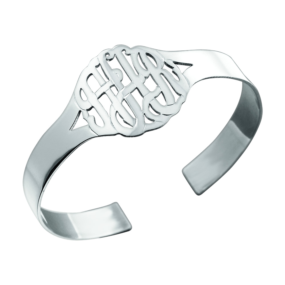 Sterling Silver Monogram Cuff Bracelet Zoom View