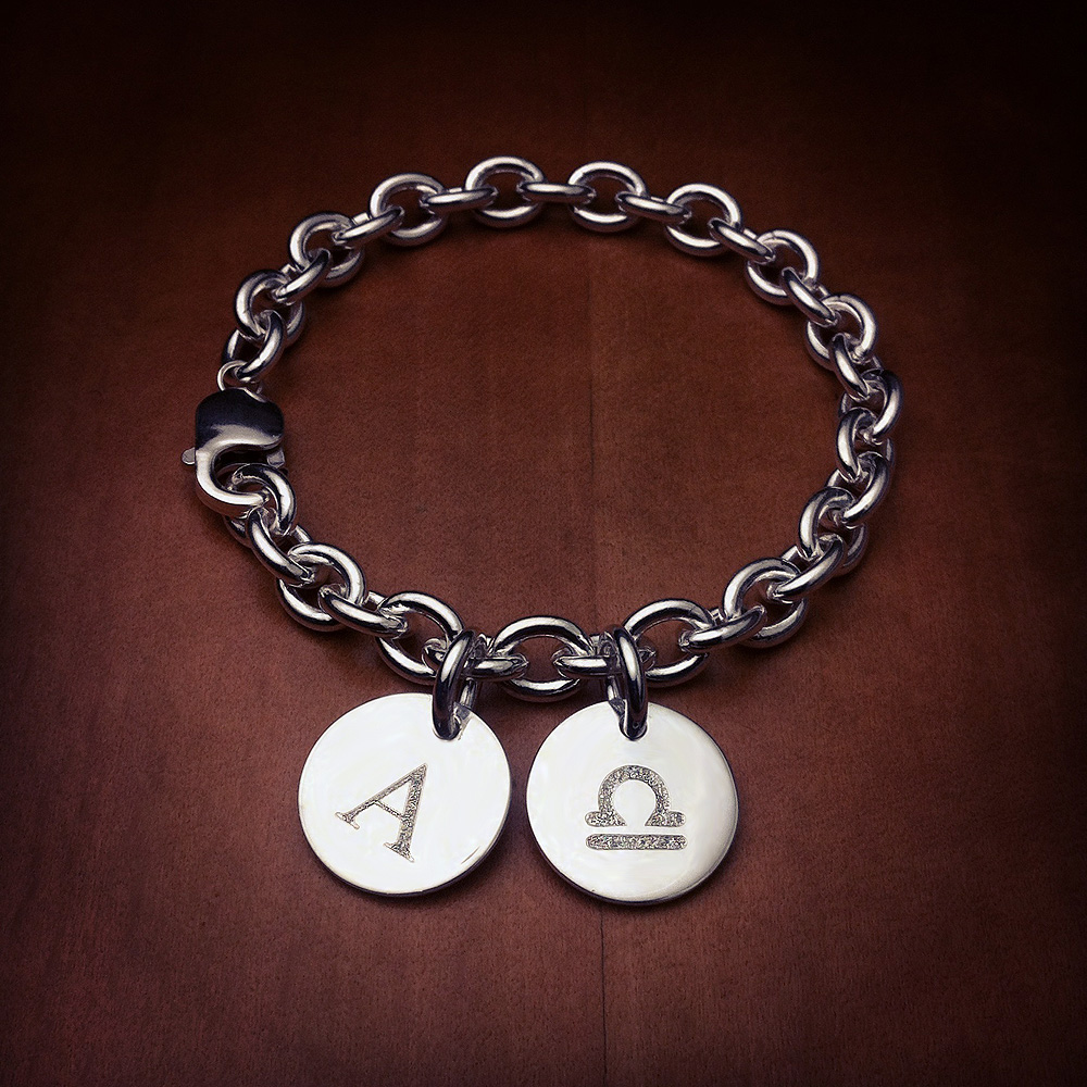 Sterling Silver Double Initial Charm Bracelet - Initial and Zodiac Symbol