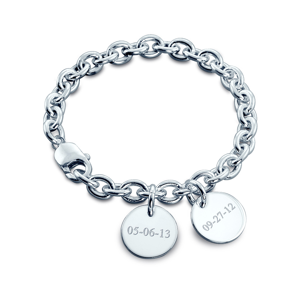 Sterling Silver Double Charm Bracelet - Engraving View