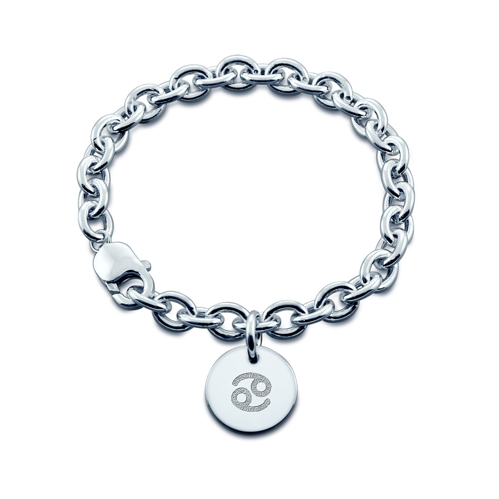 Sterling Silver Cancer Zodiac Charm Bracelet - Zoom View