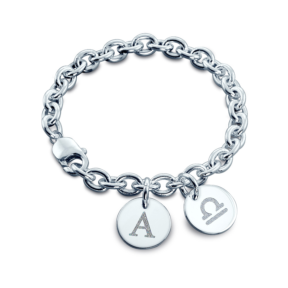 Sterling Silver Initial and Zodiac Symbol Double Charm Bracelet - Zoom View