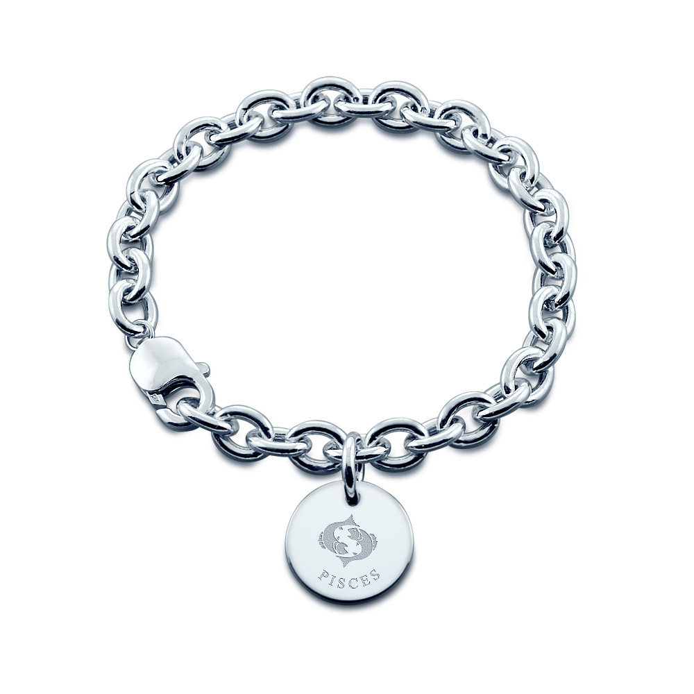 Sterling Silver Pisces Zodiac Charm Bracelet - Zoom View