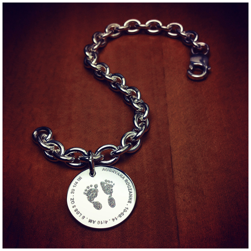Sterling Silver Baby Footprint Charm Bracelet Custom Engraved Footprints from Birth Certificate