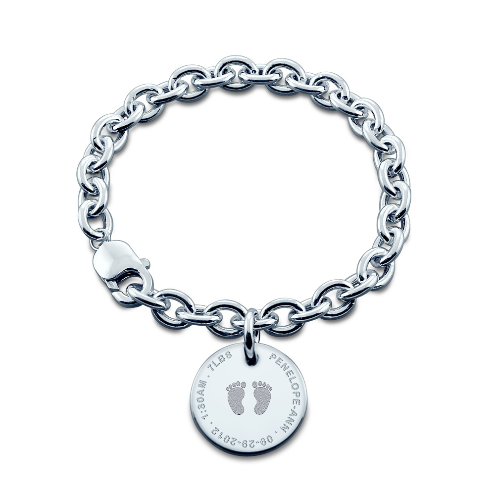 7/8 Inch Sterling Silver Personalized Baby Footprint Disc Charm Bracelet For New Mom Picture