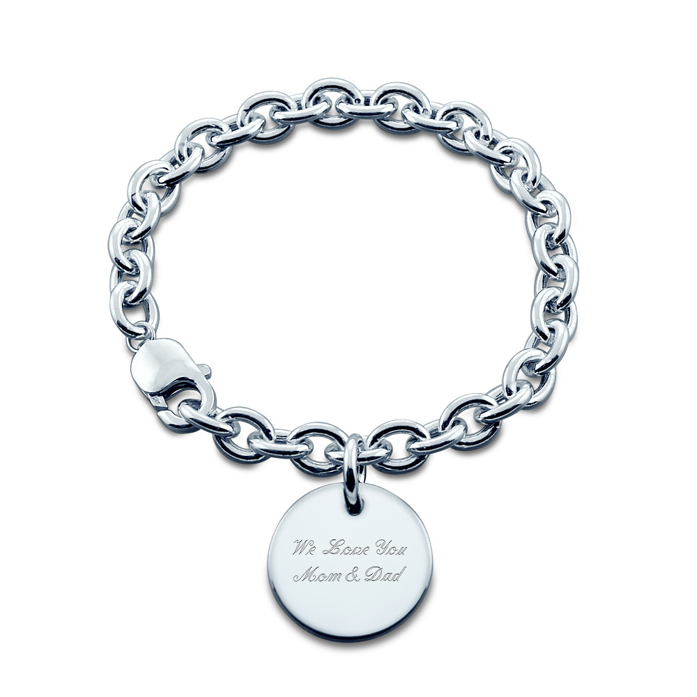 Sterling Silver Custom Graduation Charm Bracelet Engraving