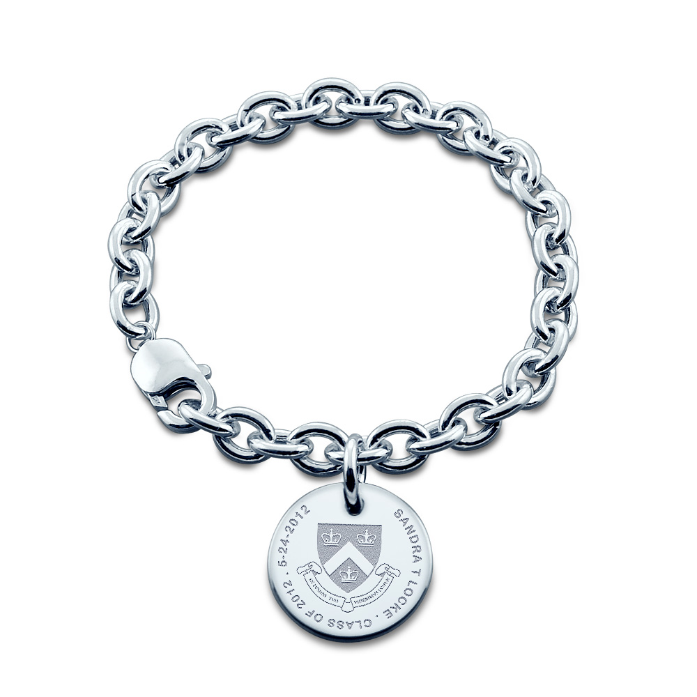 Sterling Silver Custom Engraved Columbia University Graduation Bracelet